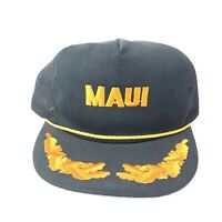 Maui Hawaii Vintage Snapback Hat Cap Truckers Mesh Hawaiian Headwear Black S/M