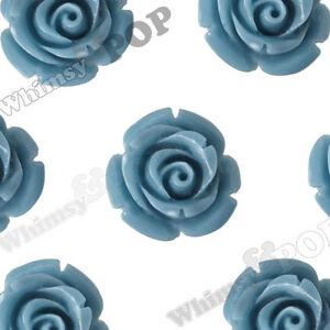 12mm Cornflower Blue Rose Flower Beads Drilled Hole Beading Stringing Necklace