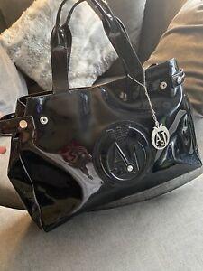 Armani Jeans AJ black Patent Large Bag