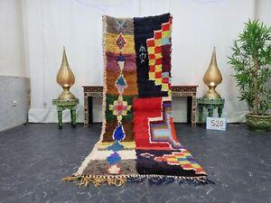 "Moroccan Handmade Vintage Runner Rug 3'x8'6"" Berber Geometric Red Black Carpet"