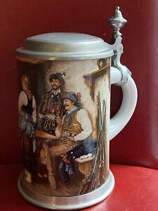 """Zalzburg Zinnstube Austria Goldgasse 8 Beer Stein With Pewter Lid  7"""" Tall"""