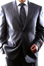 MENS SINGLE BREASTED 2 BUTTON GRAY DRESS SUIT SIZE 44L, PL-60212N-206-GRE