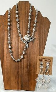 NOS Lois Hill Hand Carved Sterling Silver Clip-On Dangle Earrings & Necklace Set
