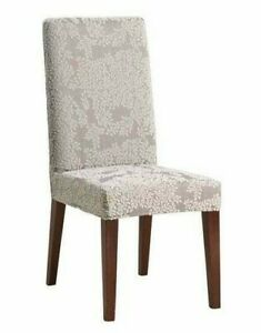NEW Sure Fit Stretch Forest jacquard leaf print Dining Chair Slipcover cream B