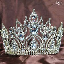 Gorgeous Gold Tiara Large Crown Clear Crystal Bridal Pageant Party Prom Costumes