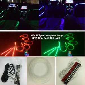 10x RGB LED Bluetooth Car Interior Under Dash Door Light w/ 8M Glass Fiber Strip