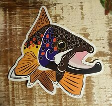 """BROWN TROUT Sticker Decal fly fishing Kype char 4"""" x 4 1/2"""" glossy weather proof"""