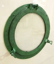 """20"""" Canal Boat Porthole Window Antique Green Finish~Wall Window Glass Porthole"""
