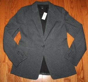 NWT Womens Ann Taylor Machine Washable 1-Button Blazer Diagonal Tweed $159 *F2