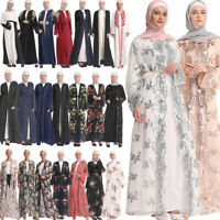 Muslim Abaya Kaftan Long Sleeve Maxi Dress Islamic Cocktail Arab Women Cardigan