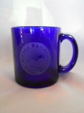 Unusual Collectible Cobalt Blue Glass Mug - Etched Sierra Railroad Scenic