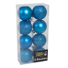Decoración de Navidad de 8 Pack 50mm Brillo/Plain Baubles-Azul