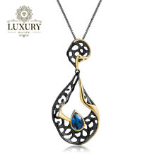 Natural London Blue Topaz Handmade 925 Silver Hollow Element Pendant Necklace