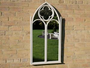 Gothic Church Cream Metal Arched Victorian Style Garden Mirror