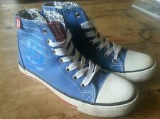 ONE Direction 1d Blu Tela Alta Top Stivali Trainer Pump Scarpe UK 2.5