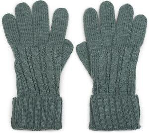 warme Handschuhe, Zopfmuster und doppelter Bund, Winter Strickhandschuhe, Damen