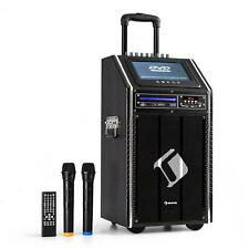 Mobile DJ PA Anlage USB SD DVD Karaokeanlage Akku Aktiv Box Trolley Lautsprecher
