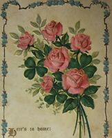 c1910s Floral Embossed Here's to Home Postcard Unposted Markle IN