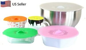 5  Silicone Suction Lids Reusable Airtight Food Storage Covers Pots Pans Bowls
