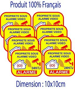 Autocollant alarme maison domestique LOT DE 8 stickers - video surveillance