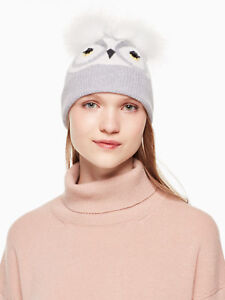 New Authentic Kate Spade Knit Who Me Beanie Heather Grey