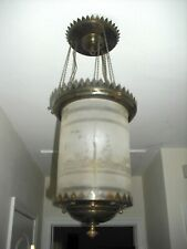 Victorian etched glass/brass hanging converted oil lamp/chandelier