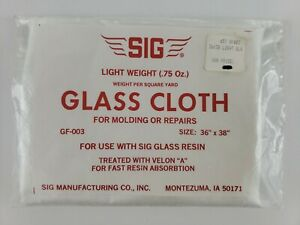 """SIG Manufacturing .75 Oz Light Weight Glass Cloth GF-003 36"""" x 38"""" Use W/ Resin"""