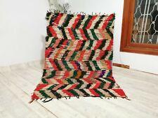 "Vintage Berber Handmade Rug,4'46"" x 6'43"" Feet,Azilal Checkered Moroccan Carpet"