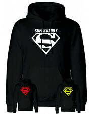 Felpa Superdaddy nera con cappuccio e tasca superman uomo regalo festa del papà