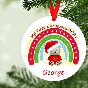 Personalised My First Christmas 2021 Hanging Christmas Tree Decoration
