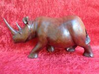 Vieja Figura de Madera, Rinoceronte, 31cm