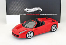 Ferrari 458 Italia Spider Baujahr 2011 rot 1:18 HotWheels Elite