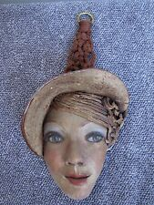 Art Deco Lady Face Sculpture Wall Decor Pottery Art.