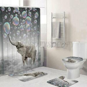 Funny Swimming Pig Shower Curtain Bath Mat Toilet Cover Rug Bathroom Decor
