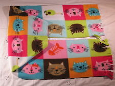 Cat Faces Colorful Boxes gbc Fleece Scarf
