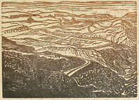Original Art Wood Engraving Print Landscape Southwest Desert Rural Road Gold