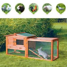 "61"" Wooden Rabbit Hutch Cage Chicken Coop House Hen Pet Animal Backyard Run"