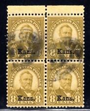 1¢ WONDER'S ~ US #666 BLK4 F-VF USED 8¢ KANSAS OVEPRINT HI CV ~ O844