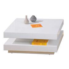 Meuble TV table basse design moderne avec rangements carré BLANC BRILLANT