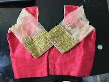Readymade Sari Blouse Pink Gold Net Sleeve Designer Blouse