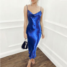 Women Lady Satin Sling Strap Dresses Sexy Summer Backless Evening Dress
