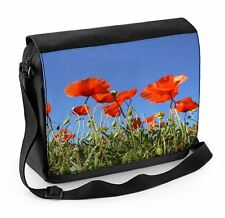 Poppy Field Blue Sky Laptop Messenger Bag - Floral Flower Poppies