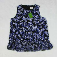 Kate Spade Hydrangea Double Layer Silk Tank Top Purple Floral Women's Size Small