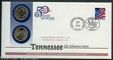 UNITED STATES 50 STATE QUARTERS TENNESSEE   P & D OFFICIAL COMMEMORATIVE COVER