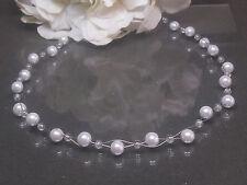 Funkelnde  Perlen  Kette Collier  weiß  Crackle Perlen 43 cm  handgef.