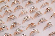 Wholesale Mixed Lots 40pcs Crystal CZ Rhinestone Gold P Women's rings