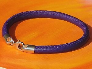 Mens /ladies 5mm Purple nappa leather & sterling silver bracelet - Lyme Bay Art