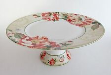 "222 FIFTH RAWLINGS Cake Pastry Fruit Plate Stand 11"" Round FLORAL SCRIPT NEW"