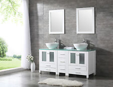 "60"" White Double Ceramic Sink Basin Bathroom Vanity Cabinet w/ mirror & Faucet"