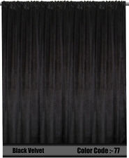 Saaria Velvet Curtain Panel 100% Blackout With Fire Retardent 8'W x 8'H Black-77